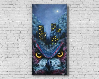 Owl Painting - Owl Art - Dark art - Abstract Art - Owl Decor - Owl Wall Art - Dark Painting - Owl Eye - Morbid art - Unique Art - Gothic Art