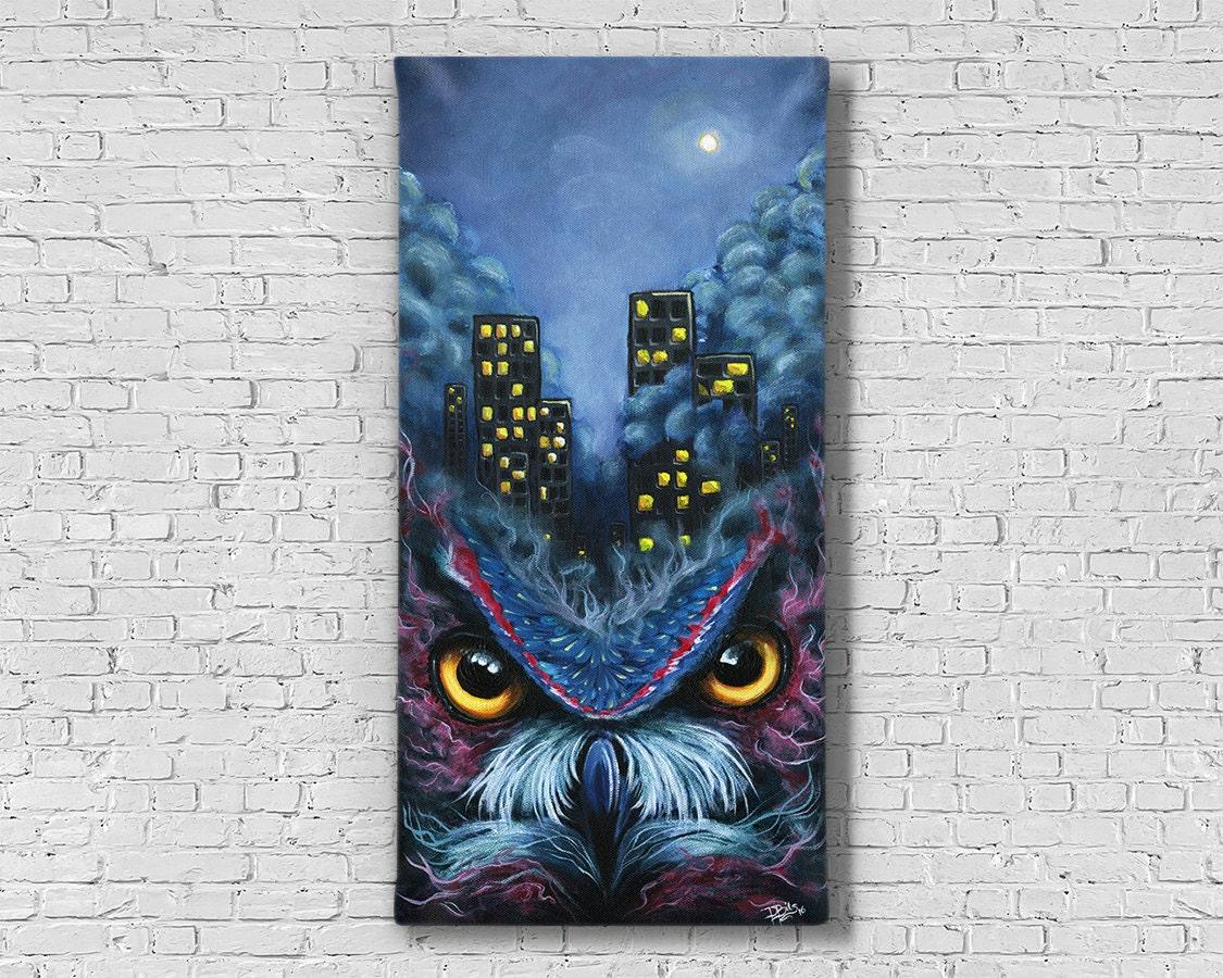 Owl Painting Owl Art Dark art Abstract Art Owl Decor