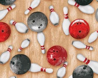 Bowling Fabric / Bowling  / SRK-15657-2 BLACK from Sports Life 4 from Robert Kaufman Fabrics RK  / Fat Quarter / 1 Yard Cut  / 1/2 Yard Cuts