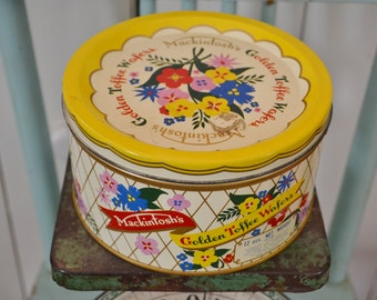 Vintage Mackintosh's Golden Toffee Wafers Floral Tin Canister