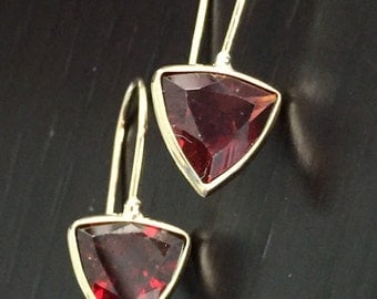 14k solid yellow gold and trillium garnet earrings, January birthstone