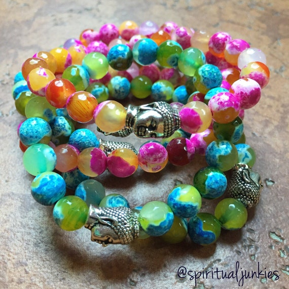 Stackable Faceted Fire Agate Spiritual Junkies Yoga and Meditation Bracelet with Buddha (single bracelet)