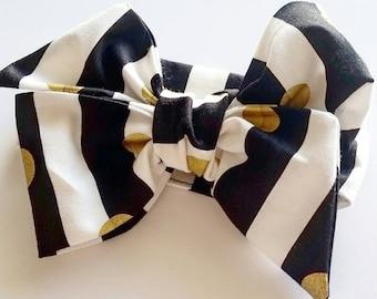 Baby girl headwrap, baby headband, toddler headwrap {Goldie Dot}