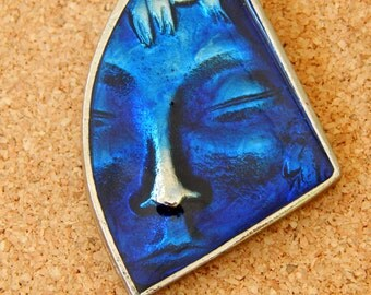 Silver and Blue Resin Face Brooch