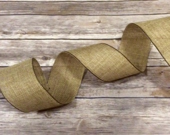 Brown Burlap Rustic Wire Edge Ribbon Christmas Tree Holiday Bow