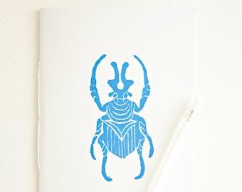Beetle Notebook * Insect Journal * Pocket Notebook * Small Blue Notebook  * Entomology * Wedding Favor Gift * Minimalist * Small Journal