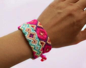 Pink friendship bracelet Aztec bracelet Neon pink bracelet Summer bracelet Tribal bracelet Ibiza bracelet Arm candy Gypsy Woven bracelet