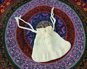 Large Handmade Crochet Slouchy Drawstring Purse/Backpack - White Convertible Boho Hippie Bag - Womens Needlework Accessories Summer Beach