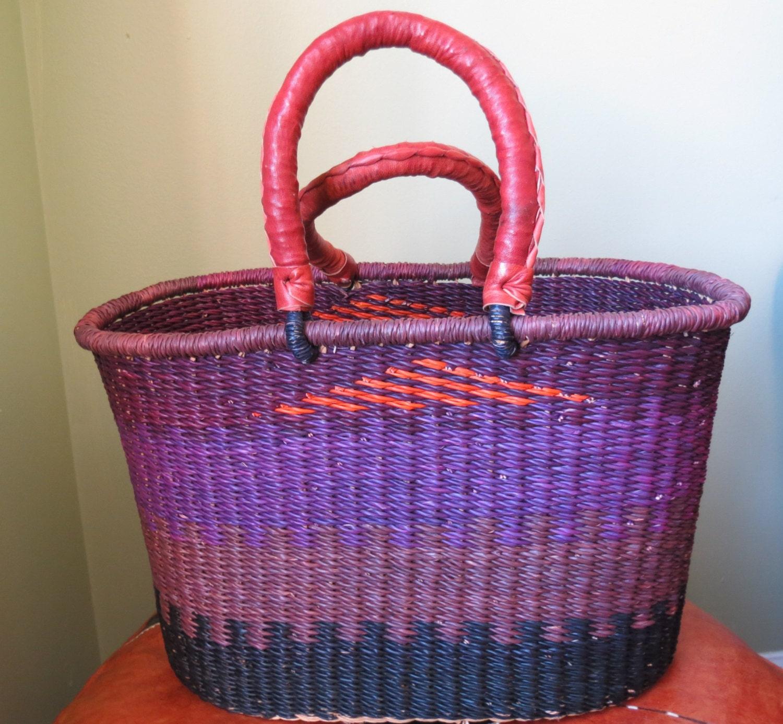 hand woven african basket leather covered handles. Black Bedroom Furniture Sets. Home Design Ideas