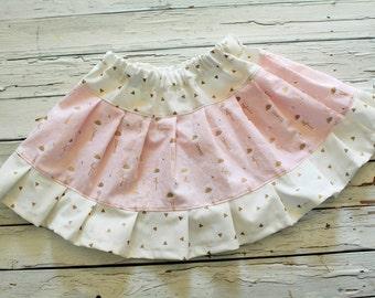 Little Summer Twirl Skirt, Little Girls Summer Flamingo Skirt, Blush Flamingo and Gold Twirl Skirt, Spring Twirl Skirt