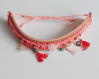 Jewel for Dog made in France. The Bijou Tinou-Boho collar pink