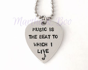 Guitar pick necklace, customised plectrum, guitar pick pendant, hand stamped, personalised jewelry, music related gift, guitar related