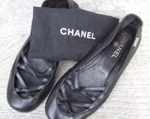 Vintage Chanel Size 39.5 Strappy Black Kid Leather Ballet Pumps/Flats -Hand Finished  | Ladies Designer Shoes