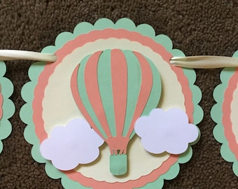 Birthday banner, birthday decorations, hot air balloon banner, hot air balloon theme birthday party