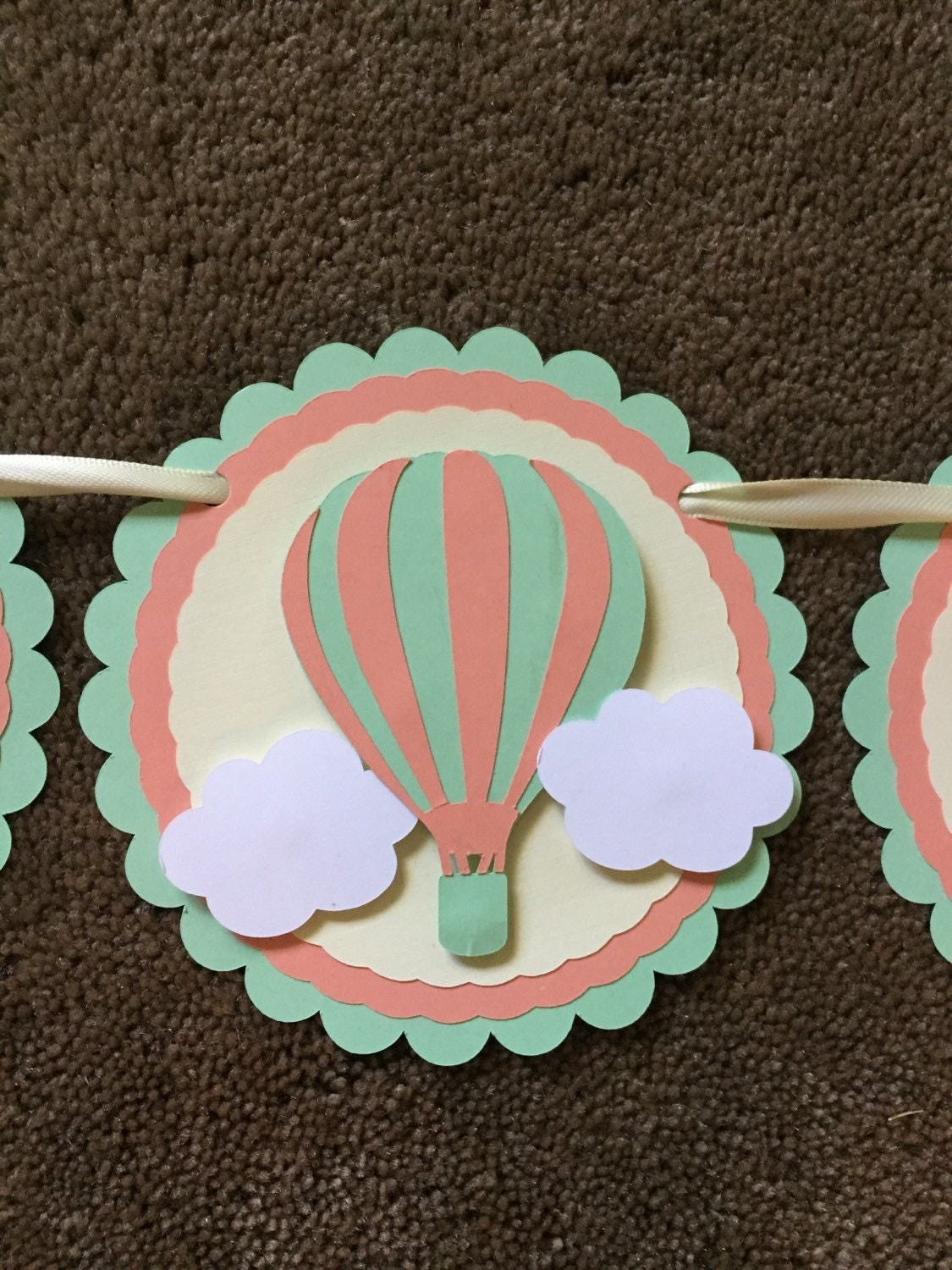 Birthday banner birthday decorations hot air balloon banner for Balloon banner decoration