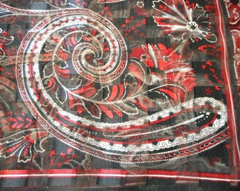 Vintage Scarf, Long Scarves, Fluer de Lis, Red and Black and Silver, Glitter Sparkle,