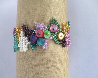 Bracelet, Freeform peyote, Beaded bracelet, Multicolor, Handmade item, Unique gift, Beadwork, Ready to ship, Cuff, Statement, Seed beads