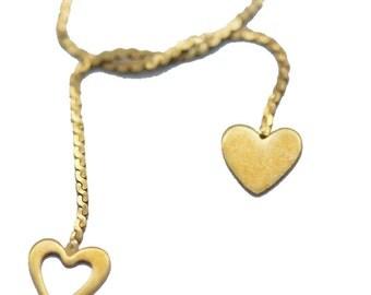 Vintage 14k Gold Chain Necklace Double Heart Romantic Love (#5906)