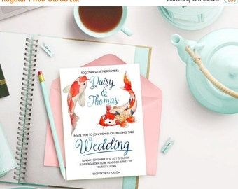 BIG SUMMER SALE - 45% off Asian Wedding Invitation, Japanese Wedding, Koi Fish Summer Wedding Printable, Japan Wedding Invitation, Printable