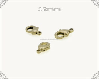 20 pc.+  12mm Solid Brass Lobster Claw Clasp - RAW Brass