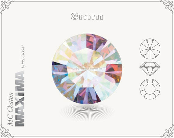 6 pc.+ SS39 (8mm) Preciosa MC Chaton MAXIMA - Crystal AB Color