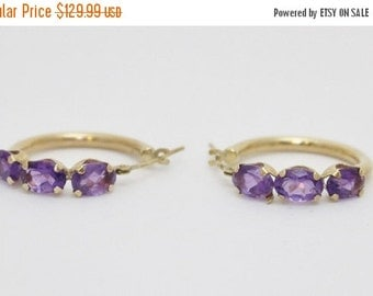 30% OFF Amethyst - February Birthstone Oval Cut 10k Yellow Gold Hoop Earrings