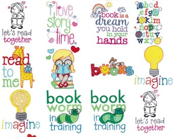 Childrens Library Sentimetns 17 Machine Embroidery Designs 4x4 5x7 and Some 6x10