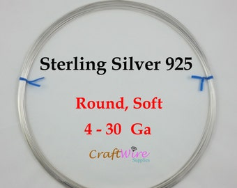 Sterling Silver Wire, Round, Dead Soft, 4 6 8 10 11 12 13 14 16 18 19 20 21 22 24 26 28 30 Gauge, Jewelry Making Wire, Craft Wrapping
