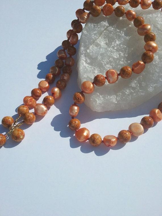 orange pearl and gemstone necklace