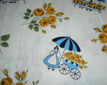 Vintage Cotton fabric, Flower Sellers
