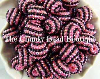 20mm pink and black stripe rhinestone bead