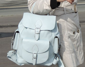 "White leather backpack ""the Seagull"""