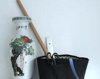 pair of black storage baskets - jeans - canvas - storage bin - toys storage - laundry bag - fabric basket - organizer childrens room