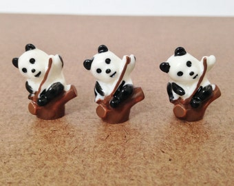 3 pcs Mini Panda Figurines, Terrarium, Fairy Garden, Art Supply