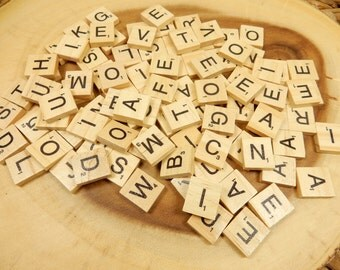Scrabble Tiles, Pack of 50, Natural Wood, Wedding Supplies, Crafting Embellishments