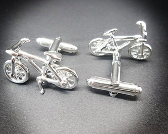 Bicycle cufflinks men's silver plated pewter 3-d Bicycle cufflinks gift for cyclists and transport enthusiasts