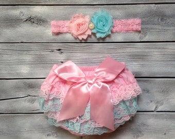 Pink and aqua baby bloomer and headband set, pink and aqua diaper cover and headband, newborn photo prop, pink aqua baby bloomers
