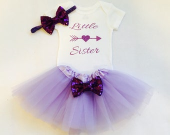 Purple little sister outfit, purple little sister bodysuit, little sister take home outfit, hospital outfit, little sister bodysuit