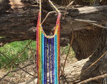 Handmade Rainbow Beaded Necklace