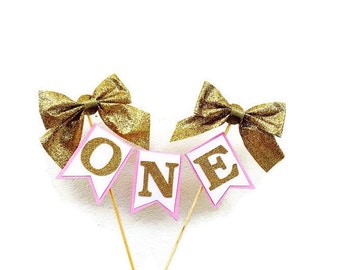 First birthday Cake topper - pink and gold glitter first birthday cake topper, cake banner, cake bunting, 1st birthday, cake smash, cake dec