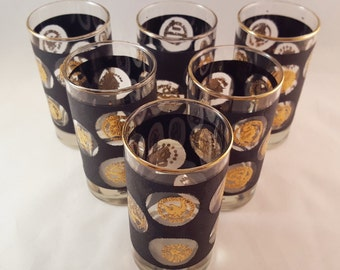 SALE - Libbey Black with Gold Coin Glasses - Set of 6