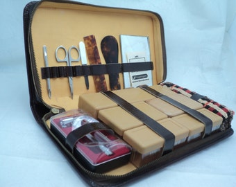 Vintage Men's Toiletries Travel in leather case. Production of Czechoslovakia 1970