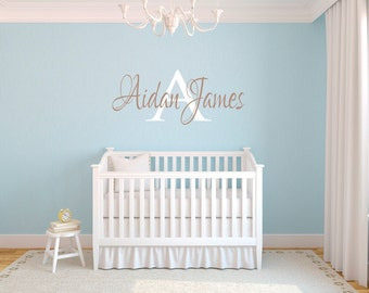 Custom Nursery Name and Initial vinyl wall decal Boy or Girl