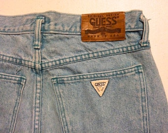 1 Vintage Guess Denim Shorts Jean Made in USA Turquoise