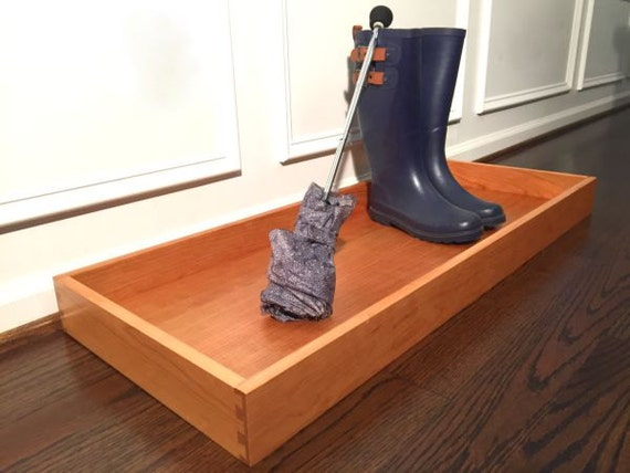 Foyer Boot Storage : Large cherry wood shoe rack and boot tray