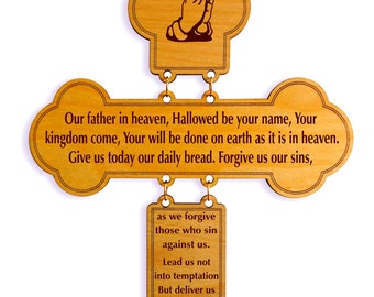 Our Father's Prayer, Our Lord's Prayer Decorative Cross, House Warming Christian Wall Decor, Sunday School Decor , Pastor Appreciation.