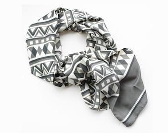 Vintage Silk Stole with Geometric Print
