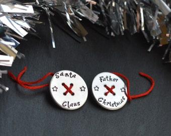 Santas Button, Father Christmas Button, Santa Key, Christmas Decoration, Childrens Christmas, Stocking Filler, Childrens Gift, Novelty Gift