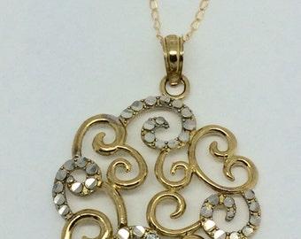 10K YG Chain and Swirl Pendant