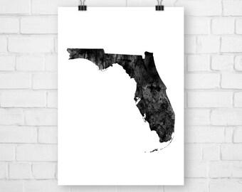 Poster Florida, Florida Print, Florida Art, Florida Poster, Florida State, Florida Wall Print, Typographic Print, Drawing Map, Watercolor